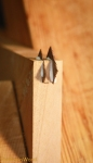 Here are the splines inserted into the saw kerfs.  The kerf I cut with my tenon saw.