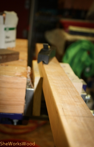 Chamfering edges with my chamfer plane.