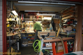 Router table and work spaces.
