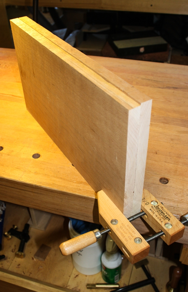"I jointed two 10"" wide pieces of cherry together to ensure a tight joint."
