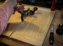 I finished up using my router plane with some more chiseling to prevent tear out.