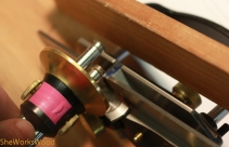 In order to groove the bottom rail, I set my double marking gauge to the width of the plow plane blade.