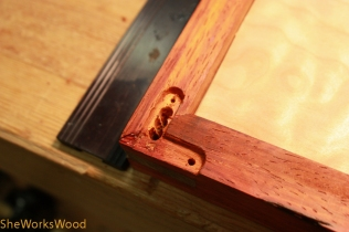 Mortise for the arm in the top.
