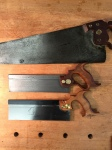 The middle saw is Ernest's, a Disston back saw, ready for sharpening and work.