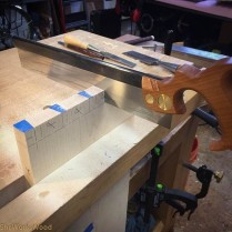 I cut the dovetails with a mitered front dovetail.
